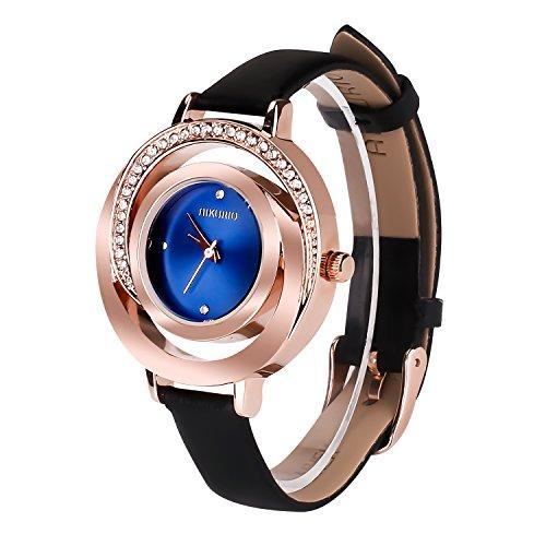 AIKURIO Damen Armbanduhr Analog Quarz 30M Wasserdicht mit Lederband Mode-Stil AKR002