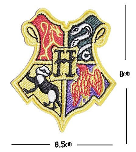 Hogwarts House Stickerei Patch Griffindor Slytherin Ravenclaw Hufflepuff Aufbügeln oder Aufnähen auf bestickt Motiv Transfer Aufnäher Slytherin Flagge