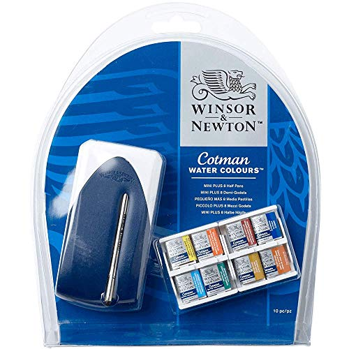 Winsor & Newton Cotman set Mini Plus 8 X mezzi godet + Mini Pennello