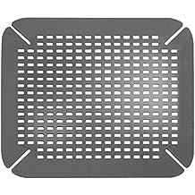 InterDesign Basic Protector de fregadero, alfombrilla de plástico PVC para fregaderos de cocina, salvaplatos para pila, gris
