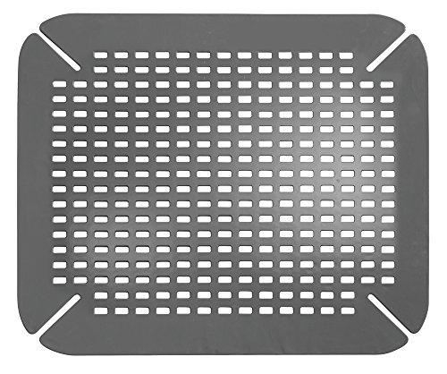 iDesign Spülbeckeneinlage, große Spülbeckenmatte aus PVC Kunststoff, Spülmatte mit Ablauföffnungen für Spüle und Waschbecken, grau