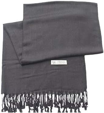 Dark Grey Pashmina & Silk Shawl Scarf Wrap Stole Throw