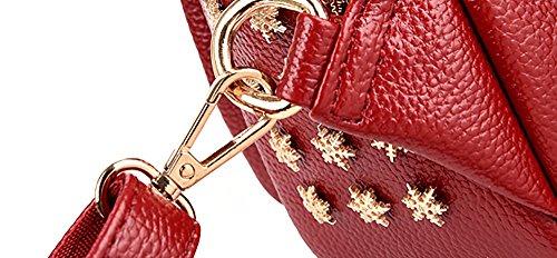 CLOTHES- Versione coreana impermeabile pelle morbida modello coccodrillo nappa spalla croce obliqua tempo libero vanno viaggio zaino pacchetto torace ( Colore : Rosso ) Rosso