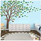Zhide Wandtattoo Großen Baumwandaufkleber grünen Baum weht im Wind Baum herausnehmbare Wand-Aufkleber Wandsticker für Wohnzimmer Schlafzimmer Kinderzimmer Braun (300 * 180cm/118.11 * 70.87inch)