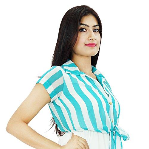 Boho Gypsy Tunika über Knie Georgette Kleid beiläufige Sommer Abnutzung für Mädchen Weiß-2