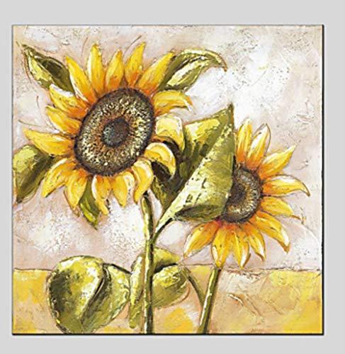 YHXIAOBAOZI Handgemaltes Ölgemälde 100{2673595310ac7ab306e2621ef5afcbb70c89fb76b9f2abe6ca73051311b9d440} Reines Öl Gemalt Landschaft Leinwand Gemälde Sonnenblumen Große Größe Moderner Pop Wand Kunst Handwerk Einrichtung Für Wohnzimmer Dekoration-24×24Inch (6