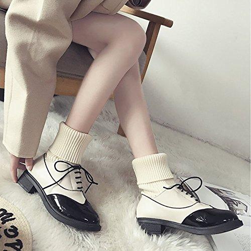 HSXZ Scarpe donna pu inverno Comfort Cowboy / Western Stivali Stivali tacco piatto Round Toe stivaletti/stivaletti di abbigliamento casual bianco nero Black