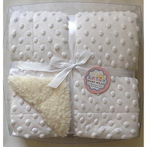 Beautiful Ultra morbido coperta Sherpa piccole bolle Bianco/76x 102cm