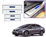 #7: V-Cart Premium Quality Car Door LED Sill Scuff Plates Foot Steps For Honda Civic