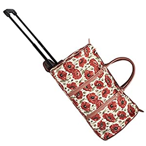 Signare Tapestry Wheeled Holdall / Pull Along Luggage with Retractable Handle in Floral Poppy Design
