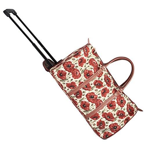 Signare fourre-tout à roulettes tapisserie/ bagage à roulettes et poignée rétractable Coquelicot