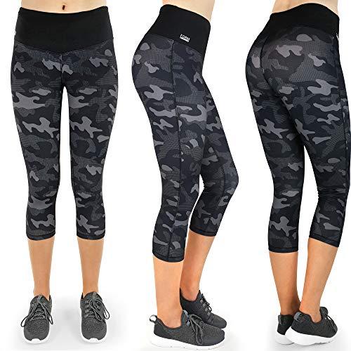 Formbelt Sport Leggings Damen 3/4 mit Hüfttasche für Handy | Laufhose Capri Dreiviertel 3 4 | Fitness Sport Tights Yoga Hose Sporthose Jogging Bunt Farbig Camouflage S