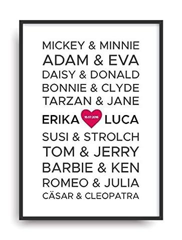 Moderner Vintage Poster Druck LIEBE 2 berühmte Paare Fine Art Kunstdruck Deko Bild Print Plakat ohne Rahmen DIN A4 Geschenk personalisiert