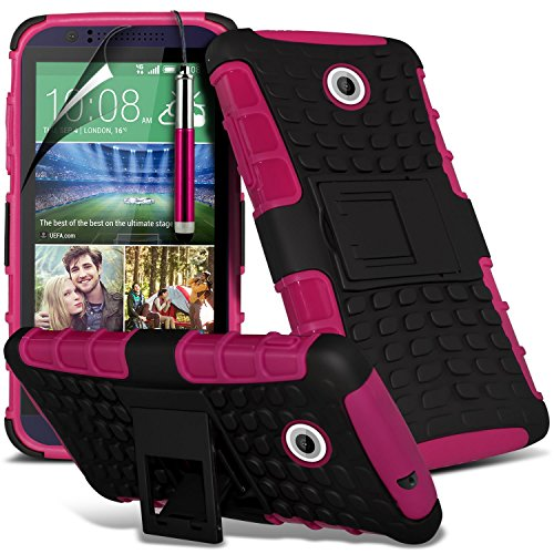 (Hot Pink) HTC Desire 510 hülle Hochwertige starke und haltbare Survivor Hard robuste Stoßfest Heavy Duty bei zurück Stand Skin Case Cover& Screen Protector von i-Tronixs 510 Htc Telefon-kästen