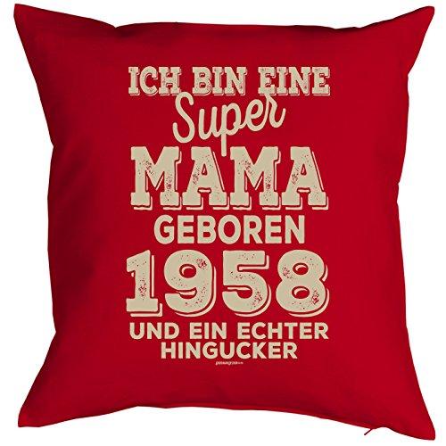 (Veri zum 60. Geburtstag Mama Geschenk für Sie Frau Deko Kissenbezug Mama Hingucker Bedruckt Jahrgang geboren 1958 Motiv Print Kissenhülle 40x40 cm :)