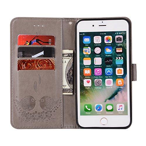 Custodia iPhone 7 Plus, ISAKEN Custodia iPhone 7 Plus, iPhone 7 Plus Flip Cover con Strap, Elegante 2 in 1 Custodia in Sintetica Ecopelle Sbalzato PU Pelle Protettiva Portafoglio Case Cover per Apple  Uccelli: grigio
