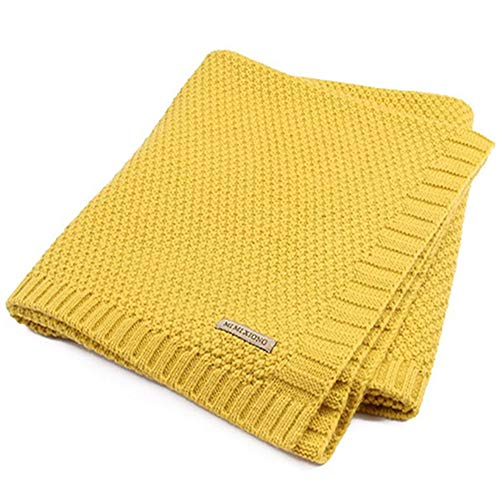 Air Cart (QIQI Kinderknabene, Knitted Blankets, Baby Windproof Covers, Cart Blankets, Air Conditioning, Boys and Girls Bedding,Mustard)