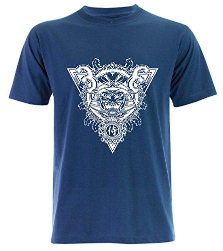 PALLAS Men's Samurai Mask Pirates Graphic Art T Shirt -PA244 Blue