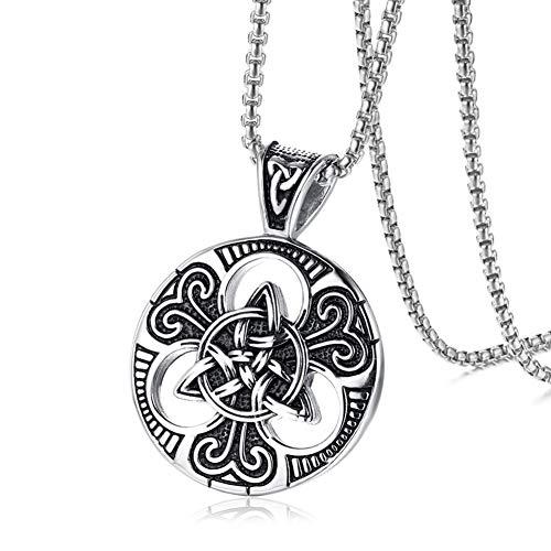 TIZIKJ Celtic Pagan Wheel Triquetra Knot Medaillon Runde Halskette für Männer, Edelstahl Magic Double Side Solid Heavy Anhänger mit 23,6