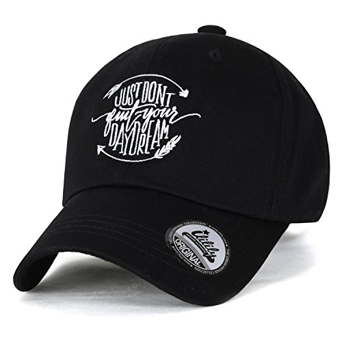 ililily Just Don't Quit Your Daydream abgebildet im Logo Solid Baumwolle Baseball Cap Trucker Cap Hut , Black (Cap Cotton Cycling)