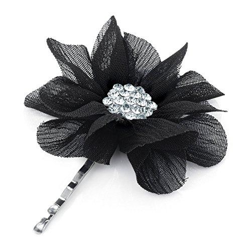 ALANNAHS ACCESSORIES 1 Schwarzer Spitze Effekt Blume Haar Griff mit Perle Oder Diamante Crystal