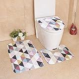 Andensoner Gemütlich 3 Stück Bad Set Rutschfeste Retro-Stil Sockel Teppich + Deckel WC Abdeckung + Badematte-Multicolor Dreieck