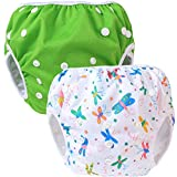 Teamoy 2-teilig Baby Schwimmhose Badewindelhose Badehose (Green+ Butterflies White)