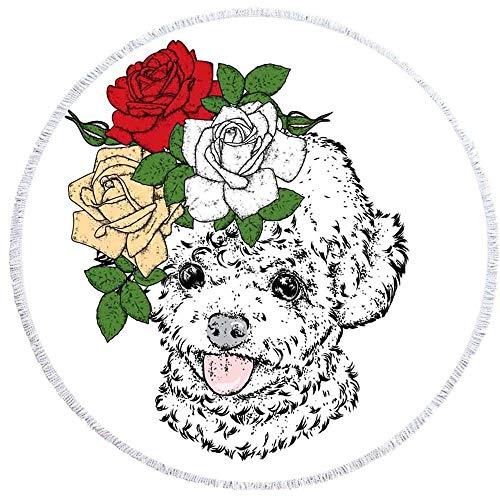 Ta-weo Punk Hund Runde Matten 150cm Strandtuch Bedruckt mit Quaste Kaktus Decke Picknick Mikrofaser große Matten (Color : 4, Size : 150CM) (Punk Strandtuch)