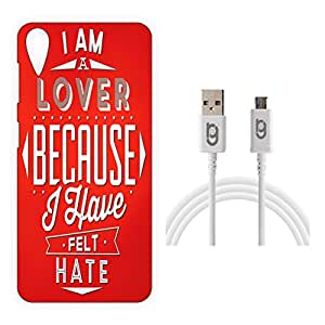 Designer Hard Back Case for HTC Desire 828 with 1.5m Micro USB Cable