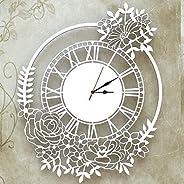 Orologio da parete Decorazione Arredo Design Floreale Bianco Artigianale