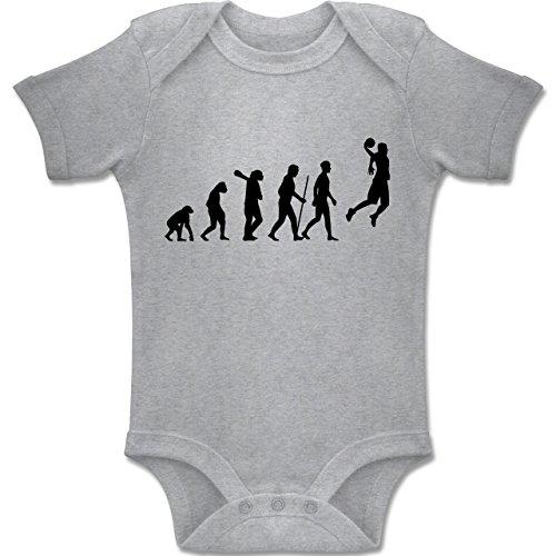 Shirtracer Evolution Baby - Basketball Evolution - 6-12 Monate - Grau Meliert - BZ10 - Baby Body Kurzarm Jungen Mädchen (Basketball-baby-mädchen)