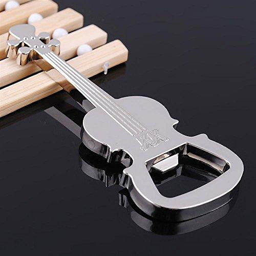 Llavero de metal creativo música guitarra llavero cadena abrebotellas (plata)
