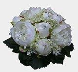 FRI-Collection Brautstrauß Biedermeier Seidenblumen Strauß Hochzeit mit weißen Pfingstrosen und Hortensien #41717