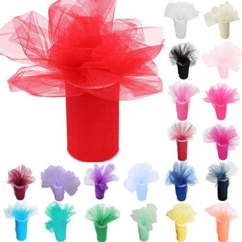 TtS 6 Zoll 25 Yards (15cm x 23M) Tüll Rolle Tutu Ballettrock Hochzeit Party Crafts Geschenk Tüllband Rollenspule (Coral)