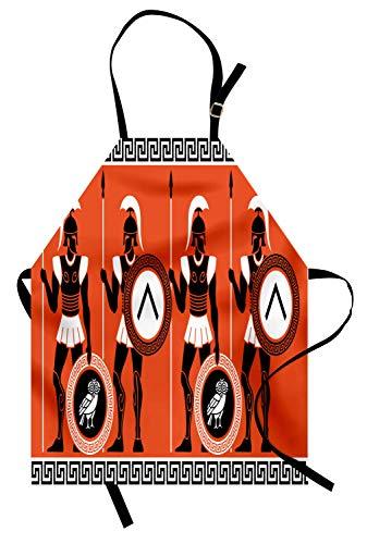 ABAKUHAUS Toga-Party Kochschürze, Künstlerische historische Figuren im antiken Griechenland-Thema-mystischen Kulturen, Farbfest Höhenverstellbar Waschbar Klarer Digitaldruck, Orange Weiß Schwarz