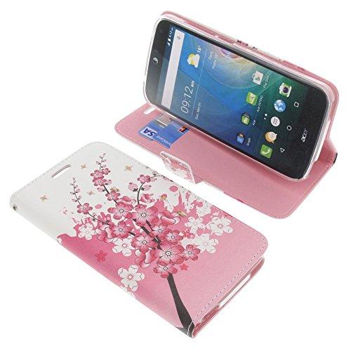 foto-kontor Tasche für Acer Liquid Z630 Liquid Z630S Liquid M630 Book Style lila Blüten Schutz Hülle Buch