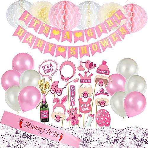 e Baby Shower Dekorationsset - Es ist EIN Junge Banner, Blaue Mumie zu Sein, Schärpe, Baby-Foto-Booth Requisiten, Seidenpapier Pompons Blumen und Luftballons (blau) ()