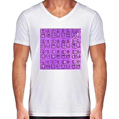 Camiseta V Cuello para Hombre - Botellas by LoRo-Design