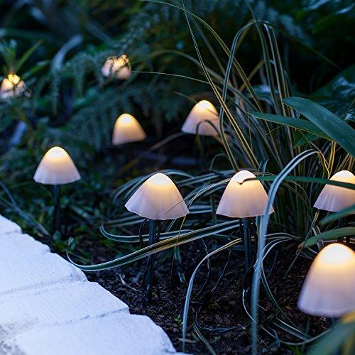 12 LED Solar Lichterkette Pilze warmweiß Lights4fun -