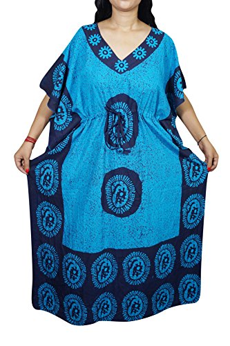Indiatrendzs Women Caftan Dress Cotton Sleepwear Kimono Batik Kaftan Nighty 56