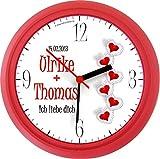 Lucky Clocks Glitzerherz schöne Wanduhr für Verliebte