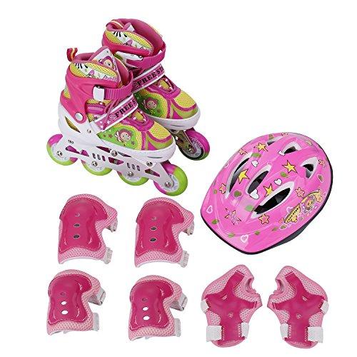 Cimiva LWX-1017 - Patines en línea tamaño ajustable 1-4 EU con Juego de casco y protecciones para niña, rosa