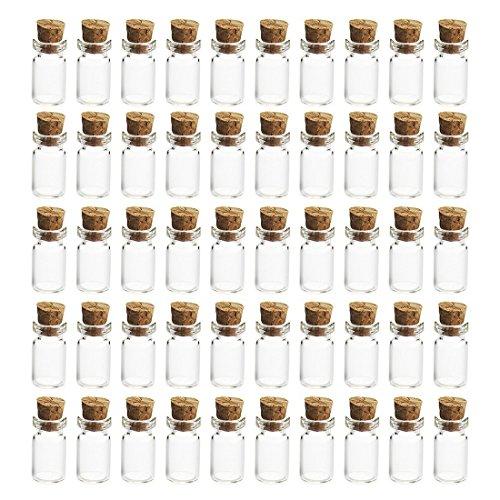 LVPY 50 Stück 5ml Mini Glasflaschen Klein Glasfläschchen mit Korken, 50 Stück Glasflaschen Klein, Nachricht Flaschen,1.2 x 2.4 cm - Ml 5 Ml Fläschchen