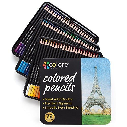Colore matite colorate – set di 72 pastelli pre-temperati di alta qualità per disegnare e colorare –