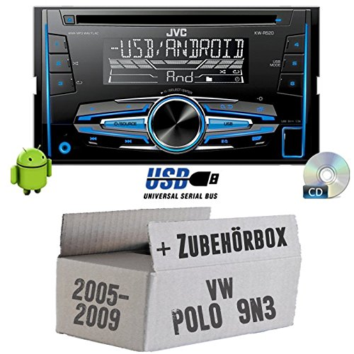 JVC KW-R520E - 2DIN Autoradio Radio - Einbauset für VW Polo 9N3 - JUST SOUND best choice for caraudio (Beste Autoradio)