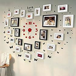 como l Marco de madera sólida combinación de la pared en forma de corazón vestido de novia Fotos artísticas Regalos de boda Dormitorio foto creativa de la pared Amor para la vida Amor grueso decoración de la habitación de matrimonio Feliz ( Color : B )