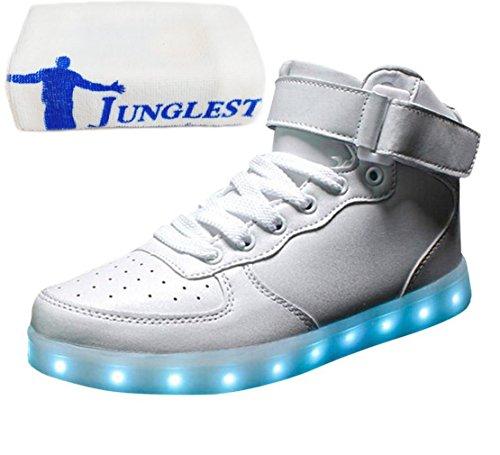 [Present:kleines Handtuch]JUNGLEST Unisex 7 Farbe Farbwechsel USB Aufladen LED Leuchtend High-top Sport Schuhe Hoch Sneaker Tu Wei