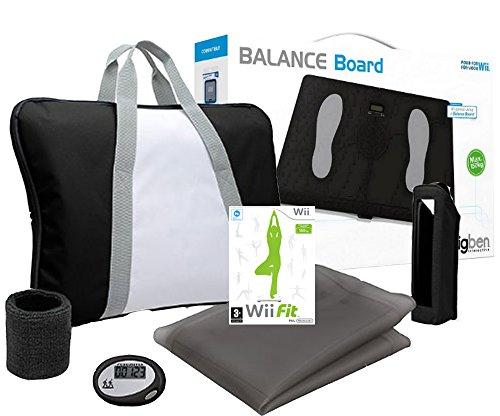 Fitness Board - Balance Board Für Nintendo Wii schwarz+Wii Fit Spiel + Trainings Pack(farbig sortiert) (Für Wii Training-spiele)