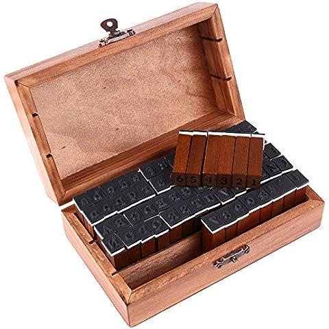 alfabeto, números y símbolos de madera con sellos de goma - 70 piezas en caja de la vendimia [version:x7.2] by