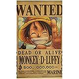 Anime One Piece reward series retro poster, kraft paper poster, One Piece posters, personas, decorative paintings Monkey D Lu